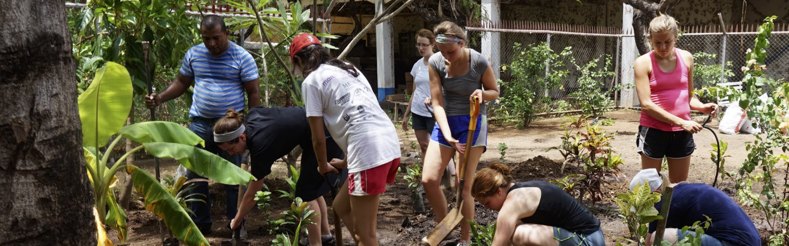 Student group planting in Nicaragua