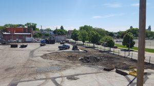 Asphalt removal during playground renovation