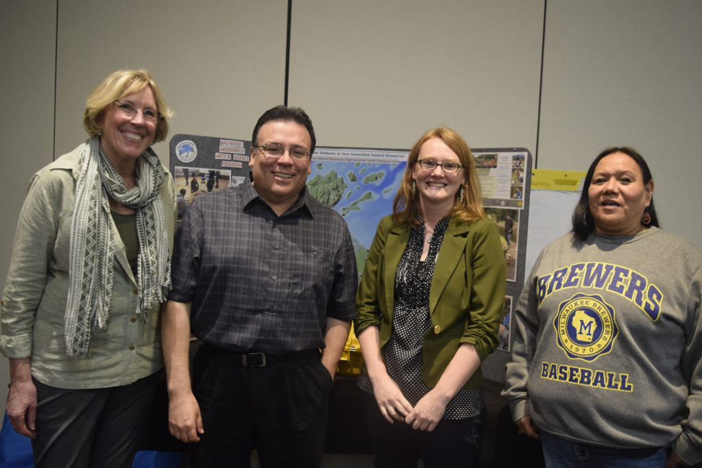 Cheryl Bauer-Armstrong (Earth Partnership), Mike Wiggins, Jr. (Bad River Tribal Chairman), Naomi Tillison (Bad River Natural Resources Department), and Michelle Cloud (Ho-Chunk Nation Education Department)