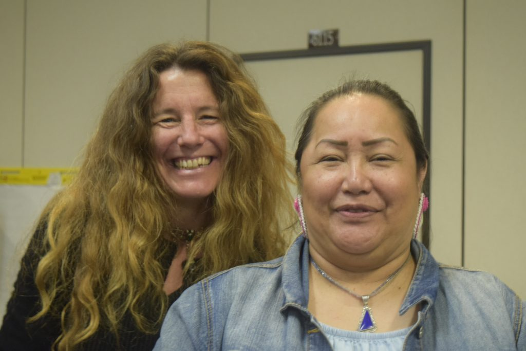 Jessie Conaway (Earth Partnership, Nelson Institute) with Edith Leoso (Bad River Tribal Historic Preservation Officer)