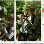 Scientific story shows participants examining macroinvertebrates in woodland