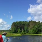 Bear RIver flowage, bend shown as participants stand in foreground