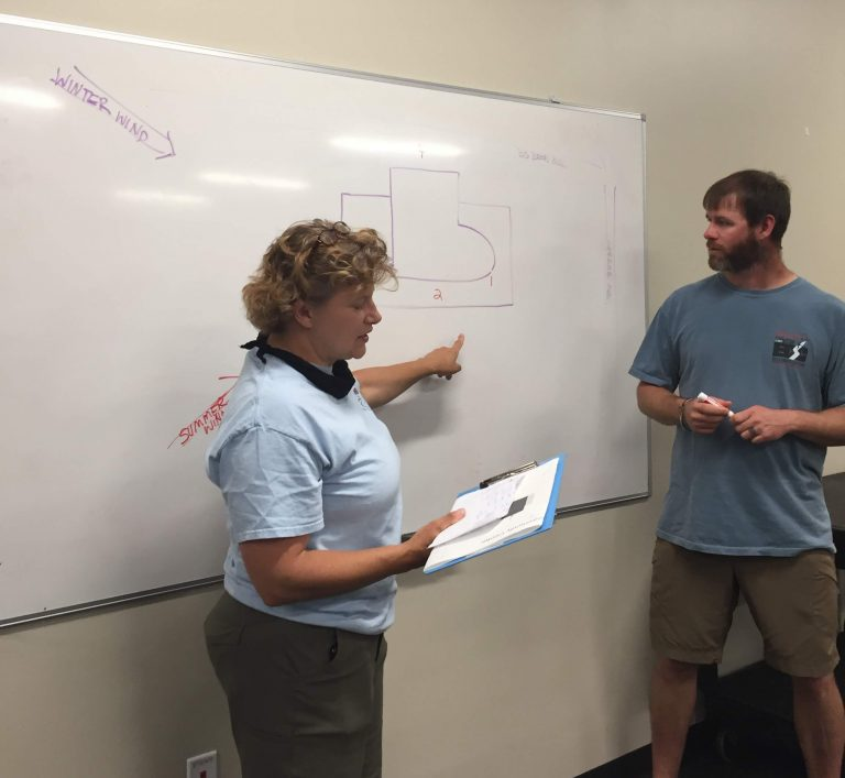Two people gesture in front of whiteboard, with map of site drawn behind them