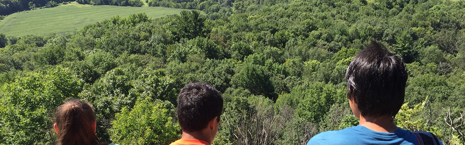 Three youth looking over the Kickapoo Valley
